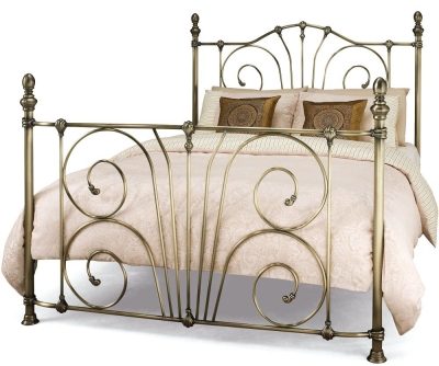 Serene Jessica Antique Brass 4ft 6in Double Metal Bed