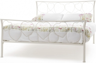 Serene Chloe Ivory Gloss Metal Bed