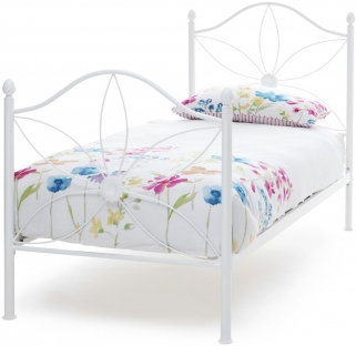 Serene Daisy White Gloss Metal Bed - 3ft Single