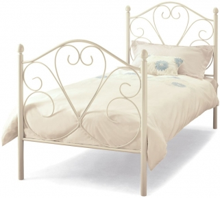 Serene Isabelle White Gloss Metal Bed - 3ft Single