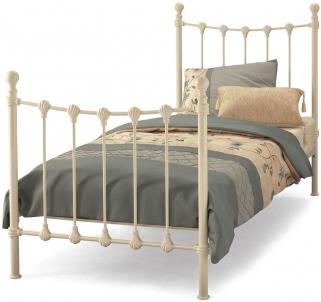 Serene Marseilles Ivory Gloss Metal Bed - 3ft Single