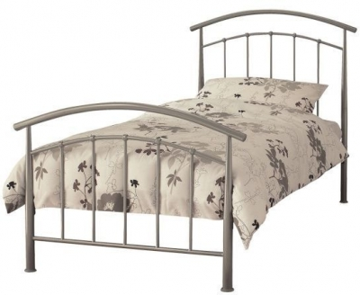 Serene Mercury Pearl Silver Metal Bed - 3ft Single