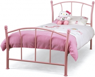 Serene Penny Pink Gloss Metal Bed - 3ft Single