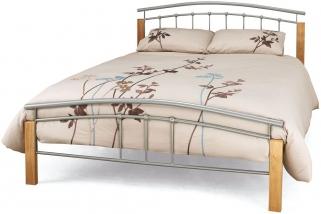 Serene Tetras Beech and Silver Metal Bed