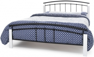 Serene Tetras Metal Bed - White and Black