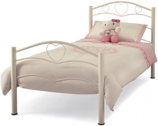 Serene Yasmin White Gloss Metal Bed - 3ft Single