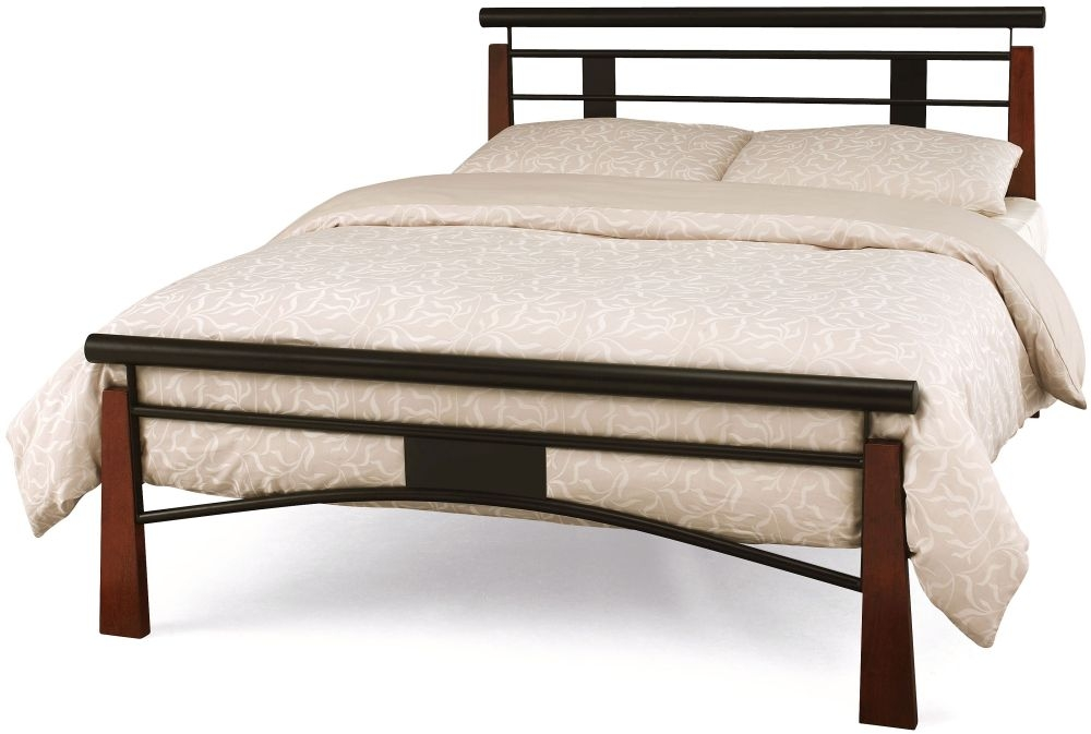 Serene Armstrong Metal Bed - Black and Oak