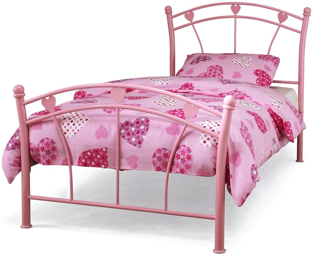 Serene Jemima Pink Gloss Metal Bed - 3ft Single
