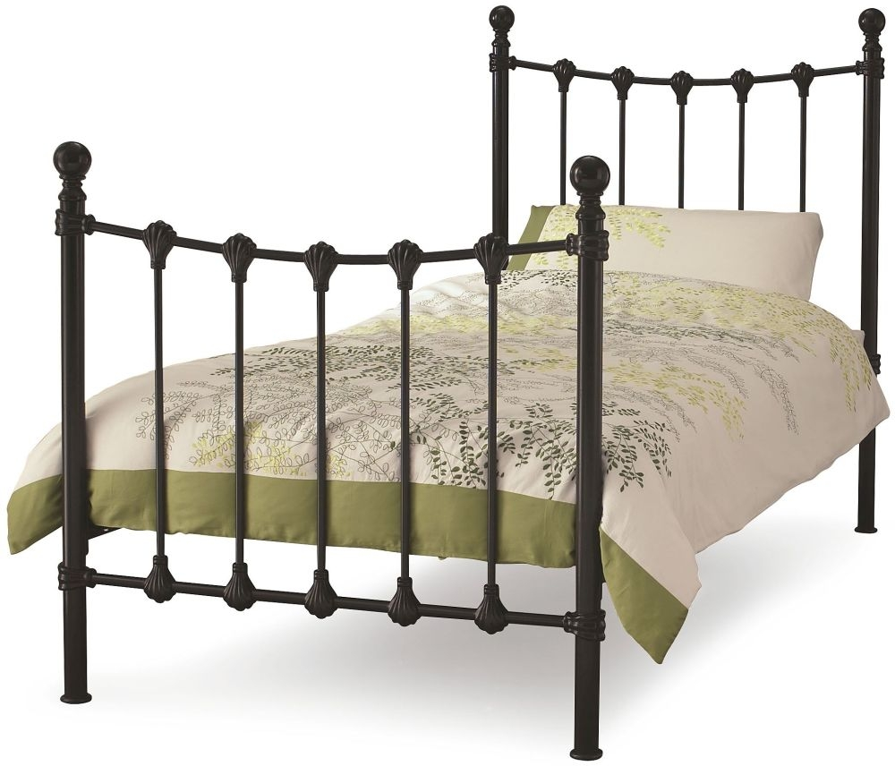 Serene Marseilles Black Metal Bed - 3ft Single