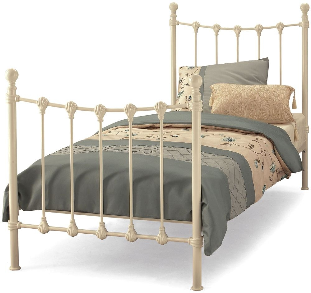 Serene Marseilles Ivory Gloss Metal Bed - 3ft Single
