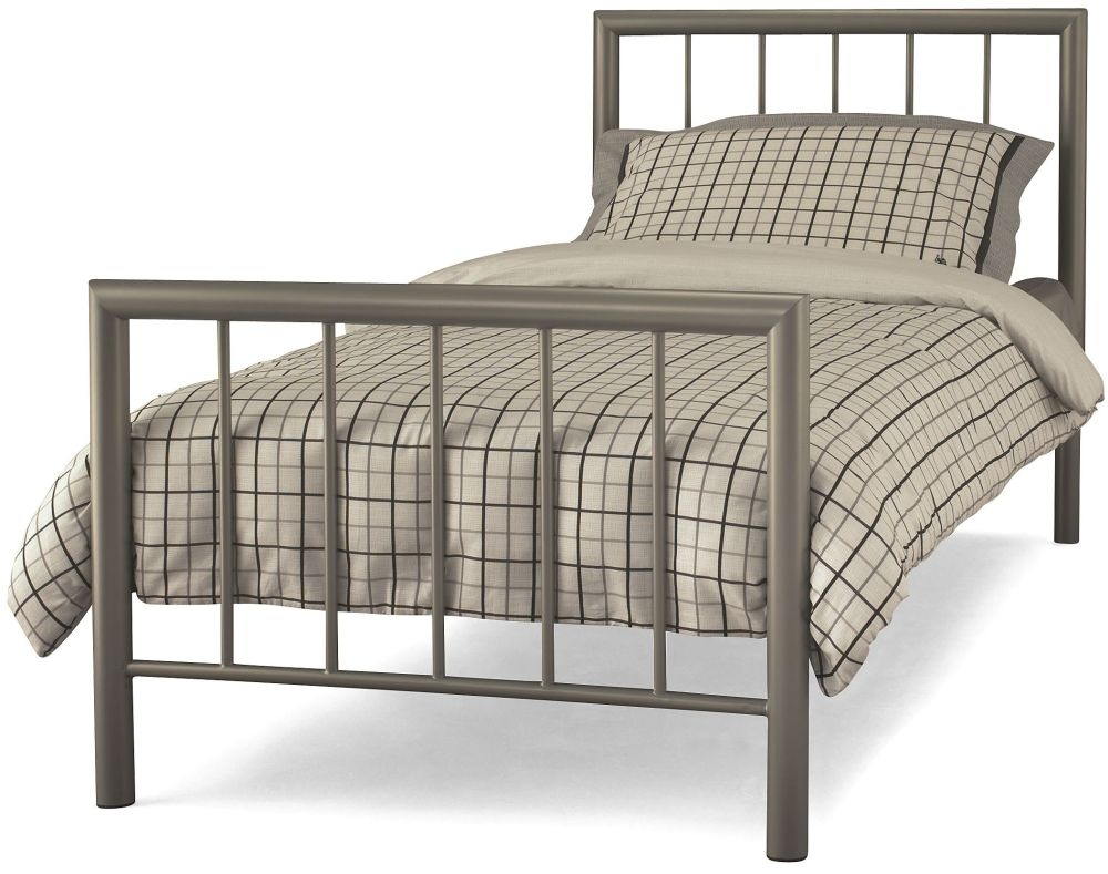 Serene Modena Champagne Metal Bed - 3ft Single