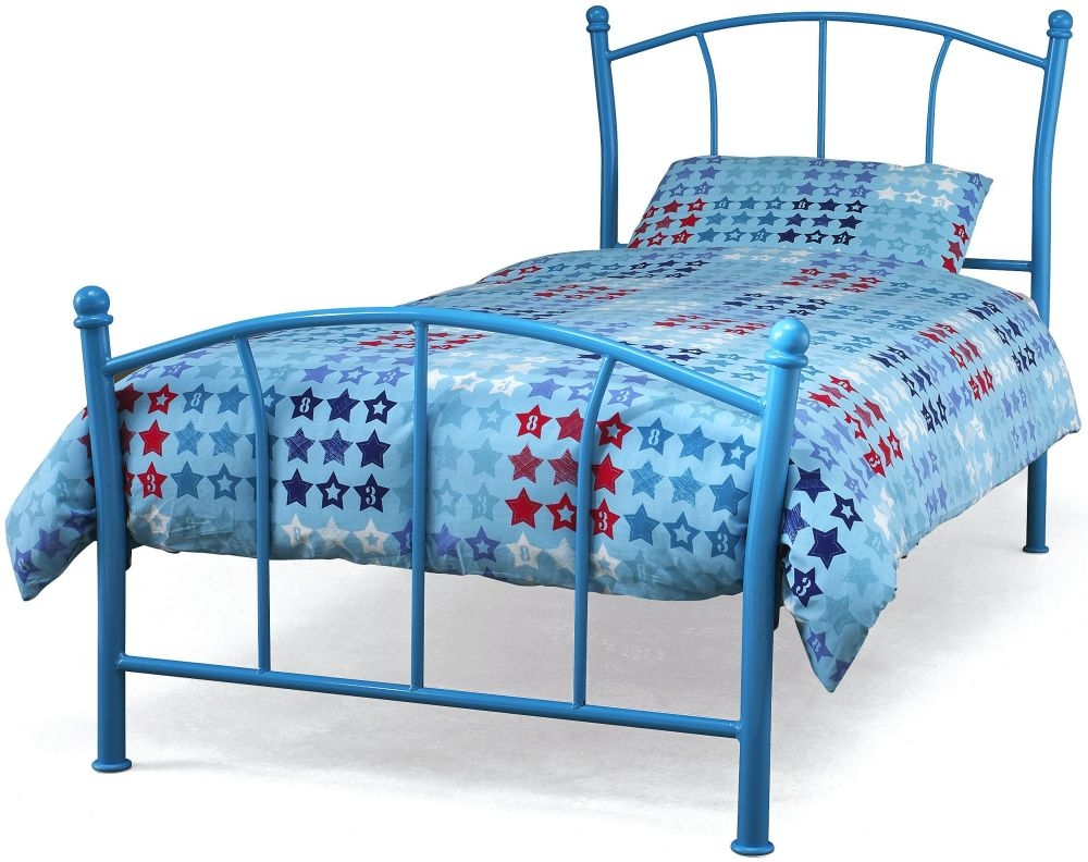 Serene Penny Blue Metal Bed - 3ft Single