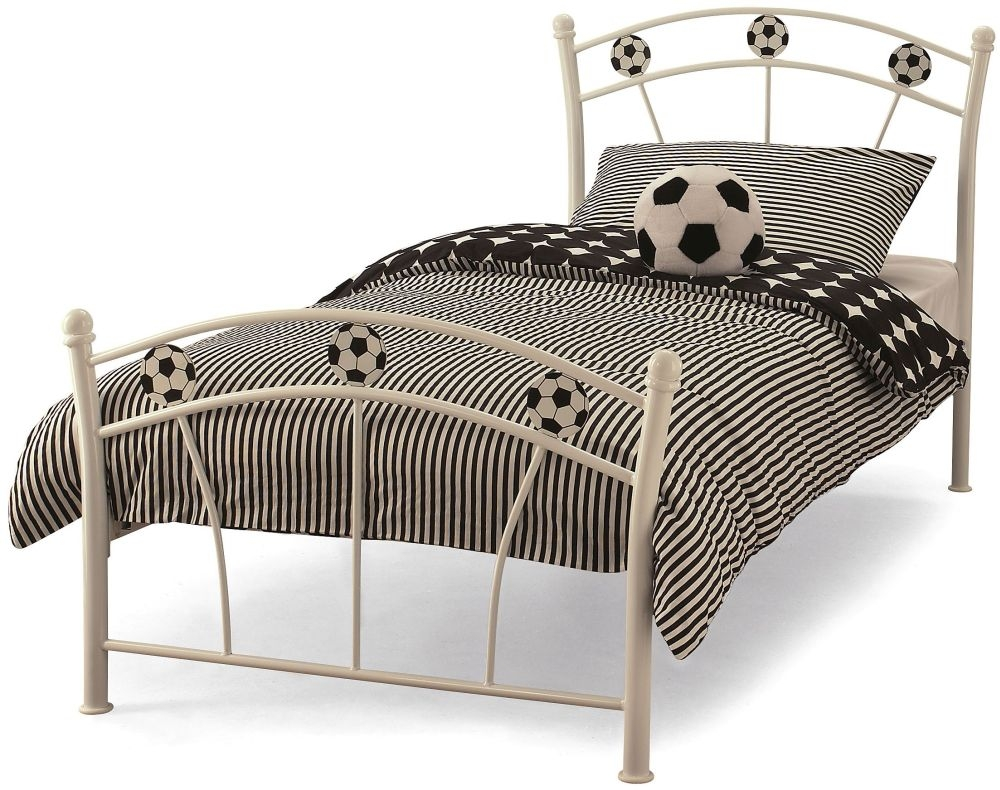 Serene Soccer White Gloss Metal Bed - 3ft Single