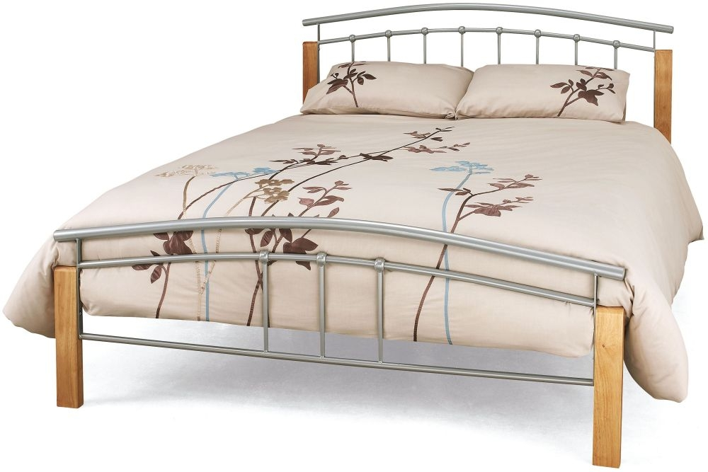 Serene Tetras Beech and Silver Metal Bed