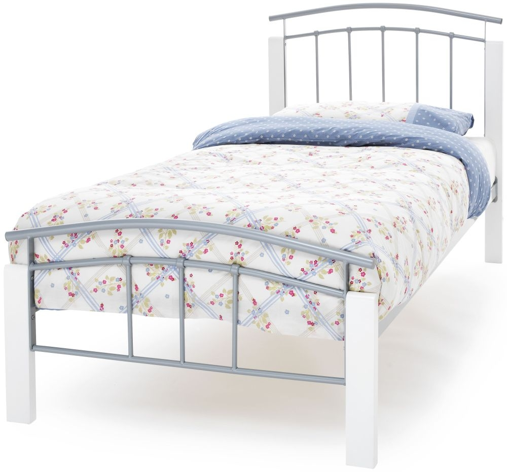 Serene Tetras White and Silver Metal Bed - 3ft Single