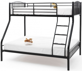 Serene Oslo Black Metal Three Sleeper Bunk Bed