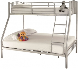 Serene Oslo Silver Metal Three Sleeper Bunk Bed