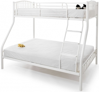 Serene Oslo White Gloss Metal Three Sleeper Bunk Bed