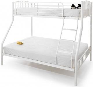 Serene Oslo White Gloss Metal Three Sleeper Bunk Bed