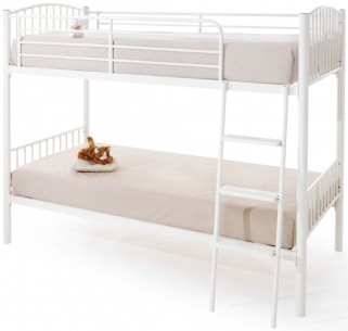 Serene Oslo White Gloss Metal Twin Bunk Bed