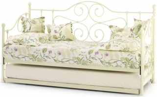 Serene Florence Ivory Metal Day Bed with Guest Bed