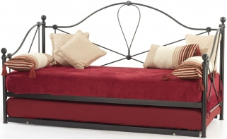 Serene Lyon Black Metal Day Bed with Guest Bed
