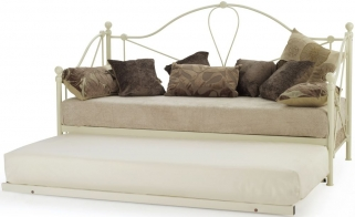Serene Lyon Ivory Gloss Metal Day Bed with Guest Bed