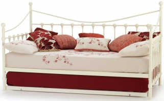 Serene Marseilles Ivory Gloss Metal Day Bed with Guest Bed