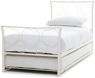 Serene Chloe Ivory Gloss Metal Guest Bed