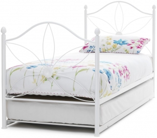 Serene Daisy White Gloss Metal Guest Bed