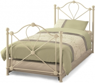 Serene Lyon Ivory Gloss Metal Guest Bed
