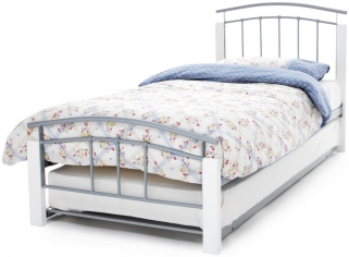 Serene Tetras White and Silver Metal Guest Bed