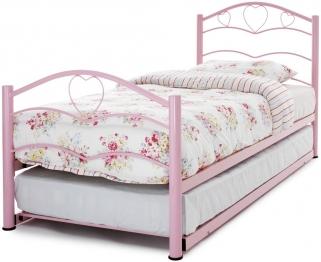 Serene Yasmin Pink Gloss Metal Guest Bed