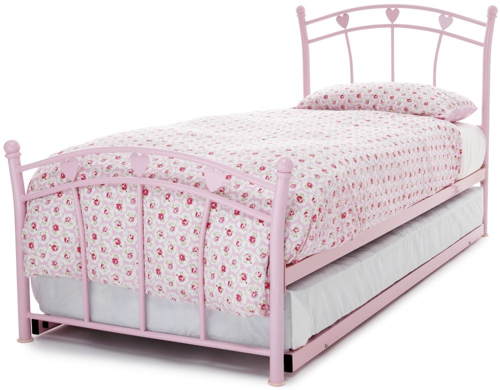 Serene Jemima Pink Gloss Metal Guest Bed