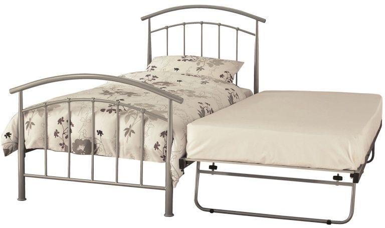 Serene Mercury Pearl Silver Metal Guest Bed
