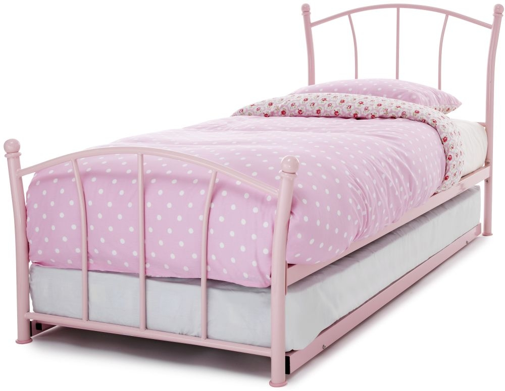 Serene Penny Pink Gloss Metal Guest Bed Serene Furnishings