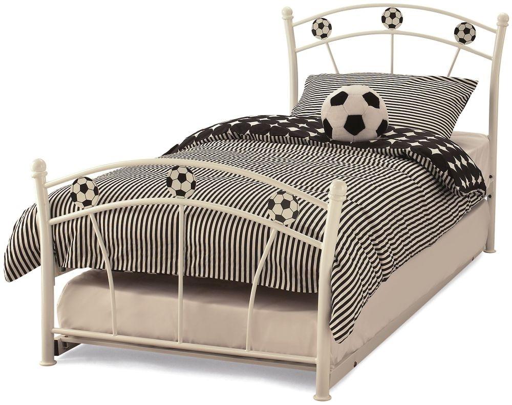 Serene Soccer White Gloss Metal Guest Bed