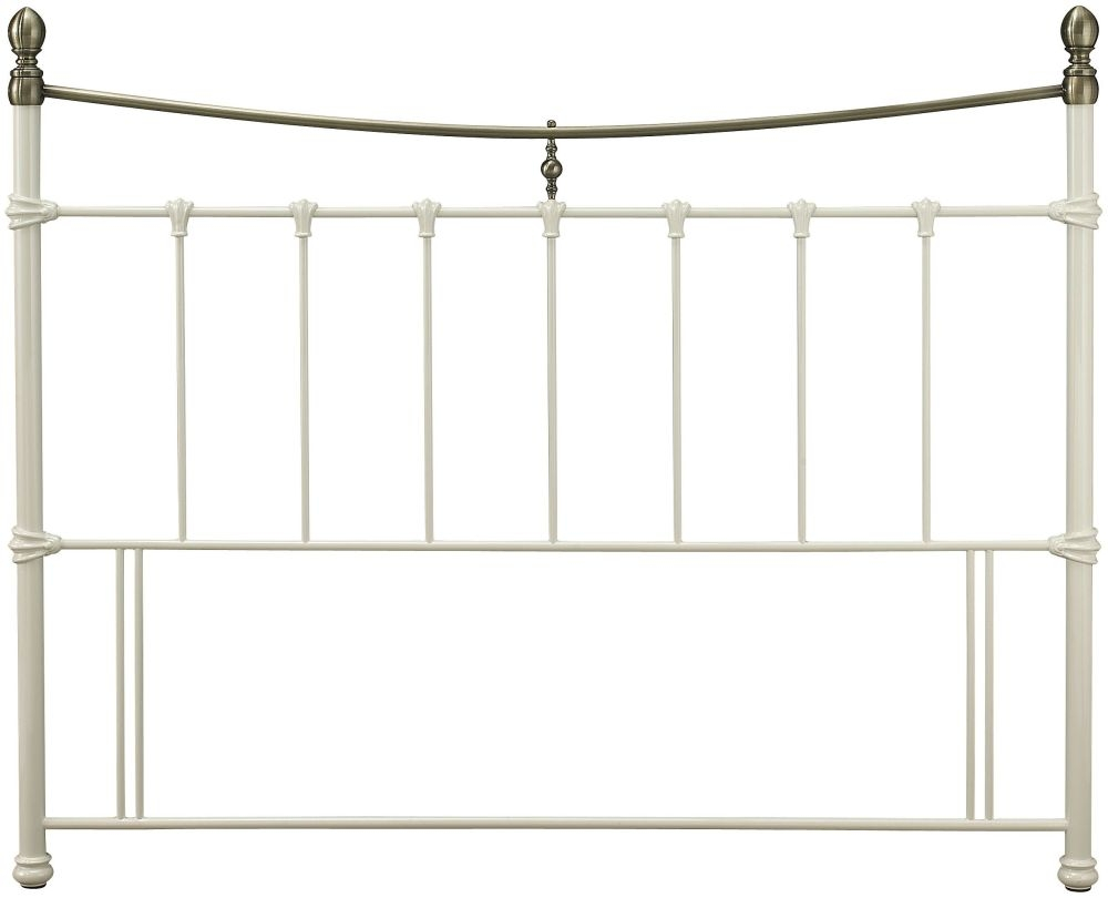 Serene Edwardian II Metal Headboard - Ivory with Antique Bronze