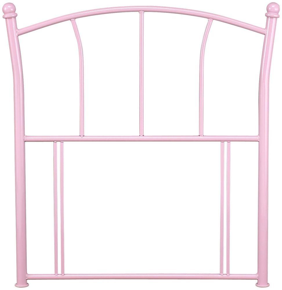 Serene Penny Pink Gloss Metal Headboard - 3ft Single