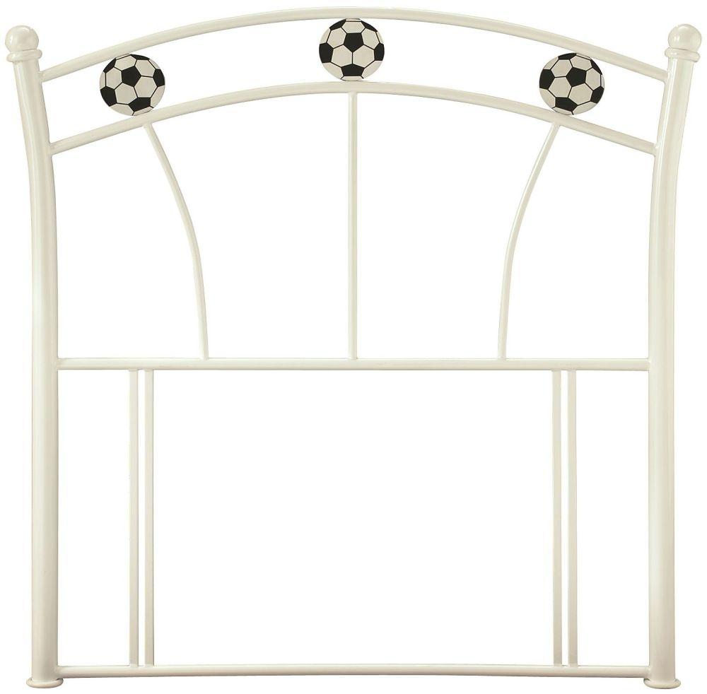 Serene Soccer White Gloss Metal Headboard - 3ft Single