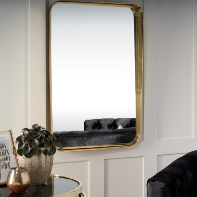 Serene Assam Gold Rectangular Mirror - 62cm x 91cm