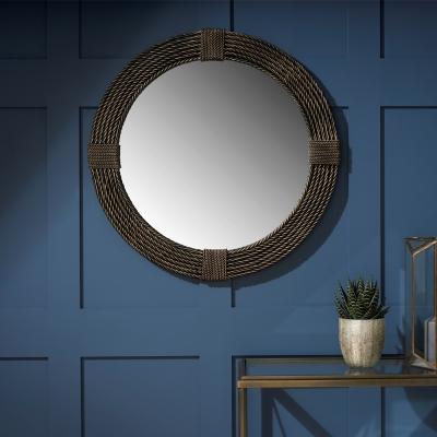 Serene Sonipat Brown Round Mirror - 76cm x 76cm