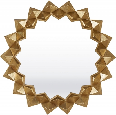 Serene Varanasi Gold Sunburst Mirror - 86cm x 86cm