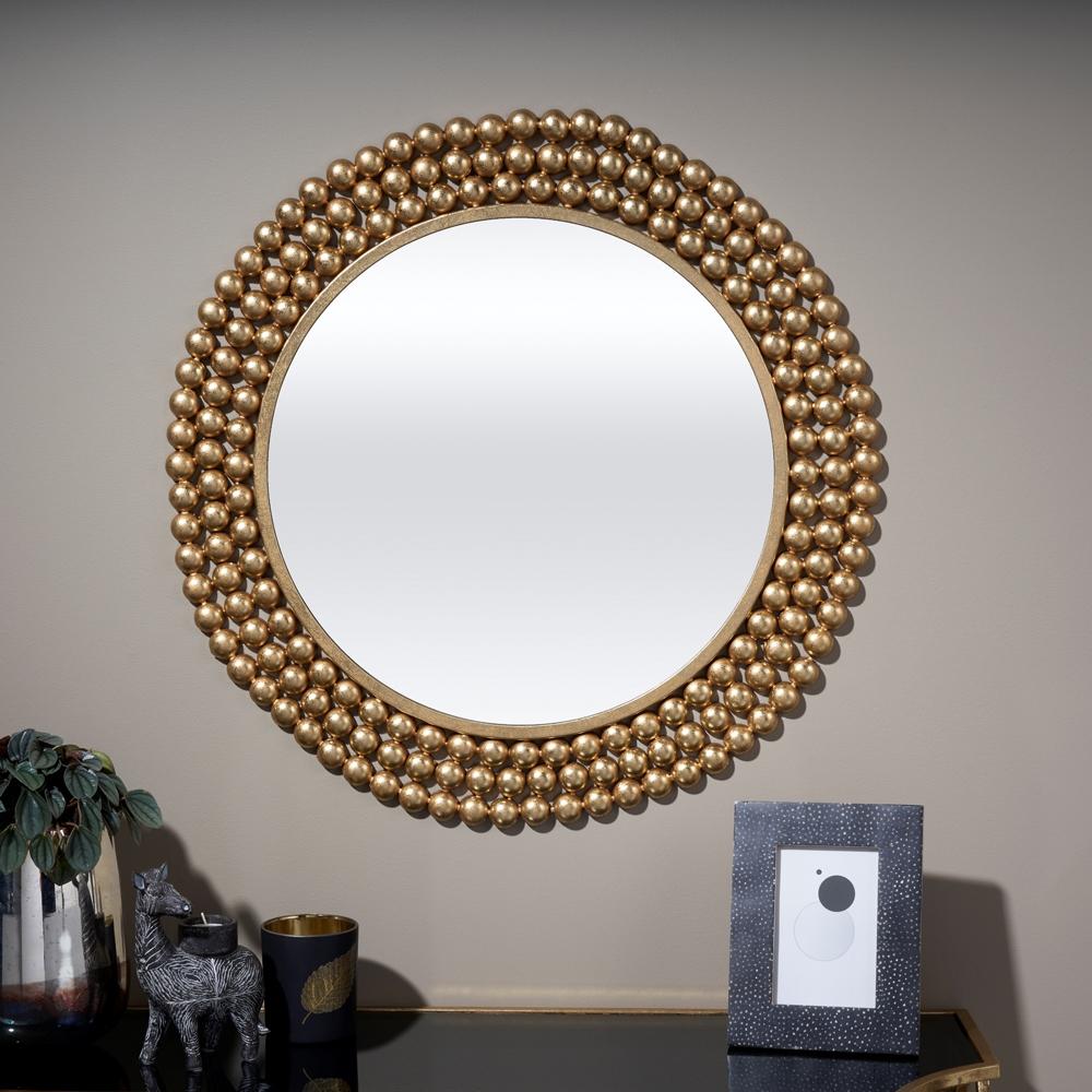 Serene Agra Gold Round Mirror - 66cm x 66cm