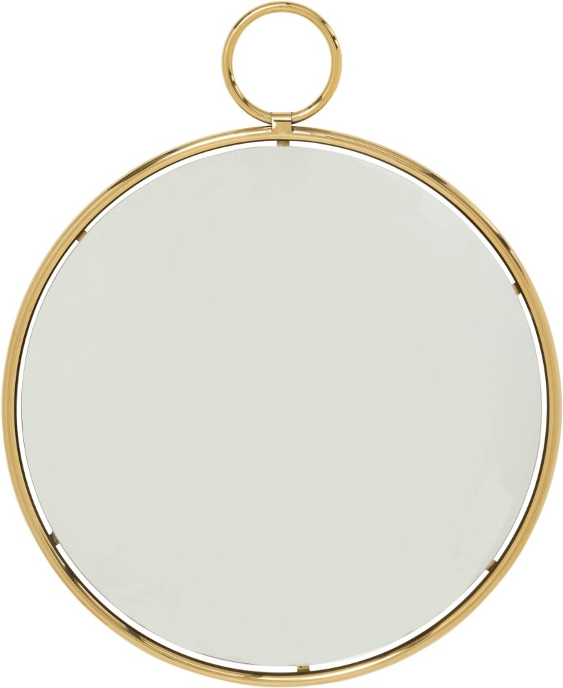 Serene Kai Gold and Chrome Large Round Wall Mirror - 89cm x 107cm