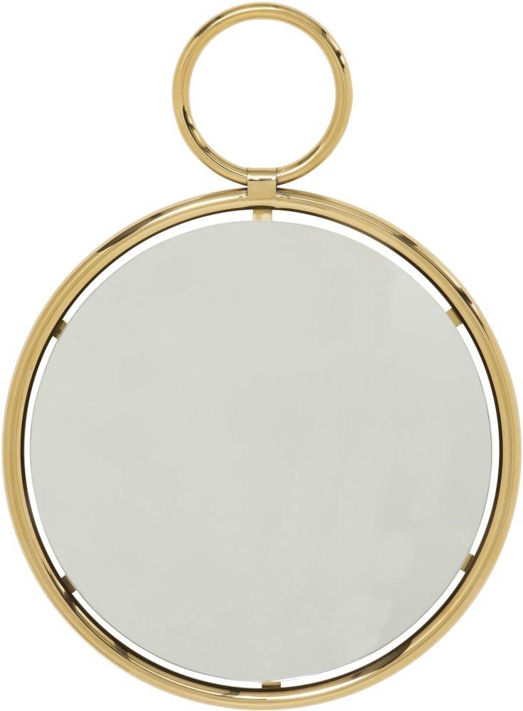 Serene Kai Gold and Chrome Small Round Wall Mirror - 55cm x 73cm