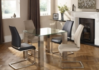 Serene Murcia Square Dining Table and 4 Alicante Chairs - Glass and Multi Color Fabric