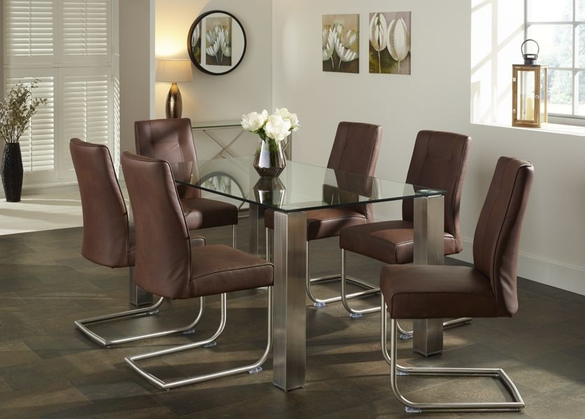 Serene Murcia Dining Table and 6 Valencia Chairs - Glass and Brown Faux Leather