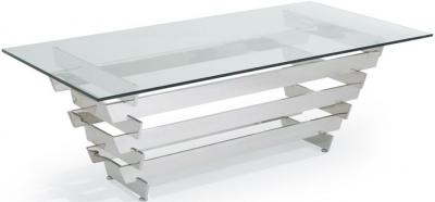 Serene Nova Rectangular Coffee Table - Glass and Chrome
