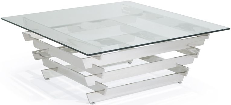 Serene Nova Square Coffee Table - Glass and Chrome